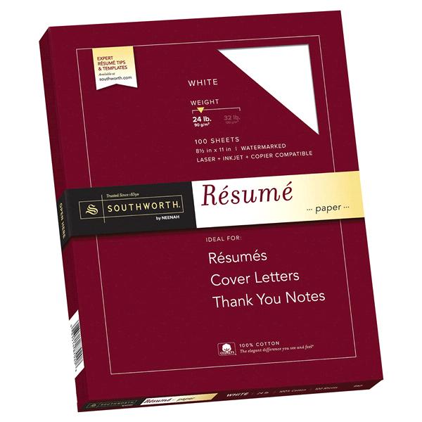 SOUTHWORTH® 100% Cotton Resume Paper 8 1/2 x 11 Wove Finish White ...