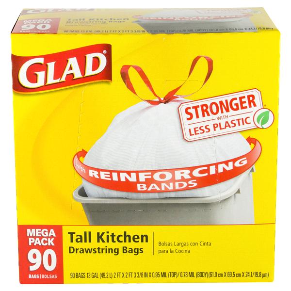 glad tall kitchen drawstring trash bags 13 gallon 90 count meijer com rh meijer com