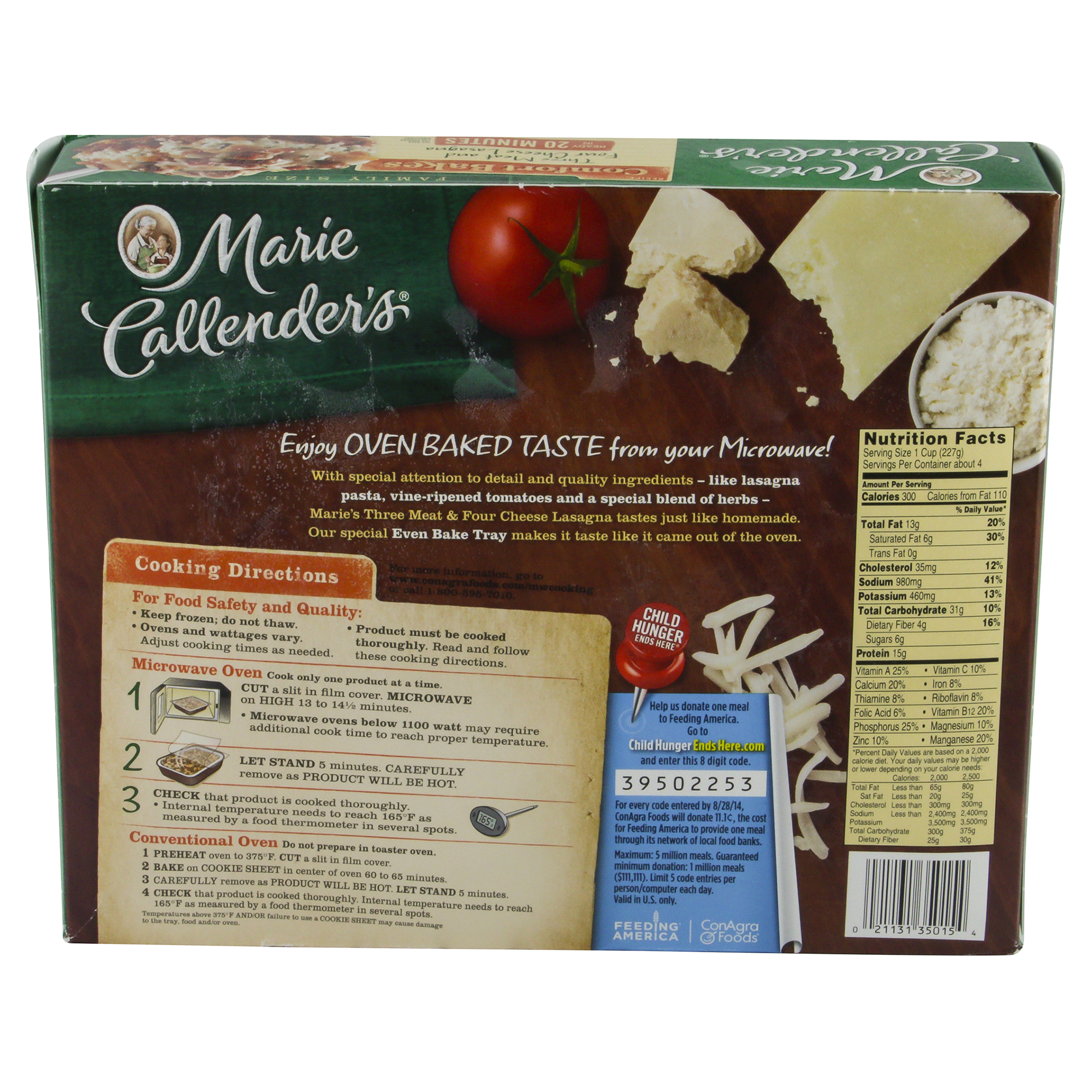Marie Callenders Three Meat Four Cheese Lasagna Comfort Bakes Family ...