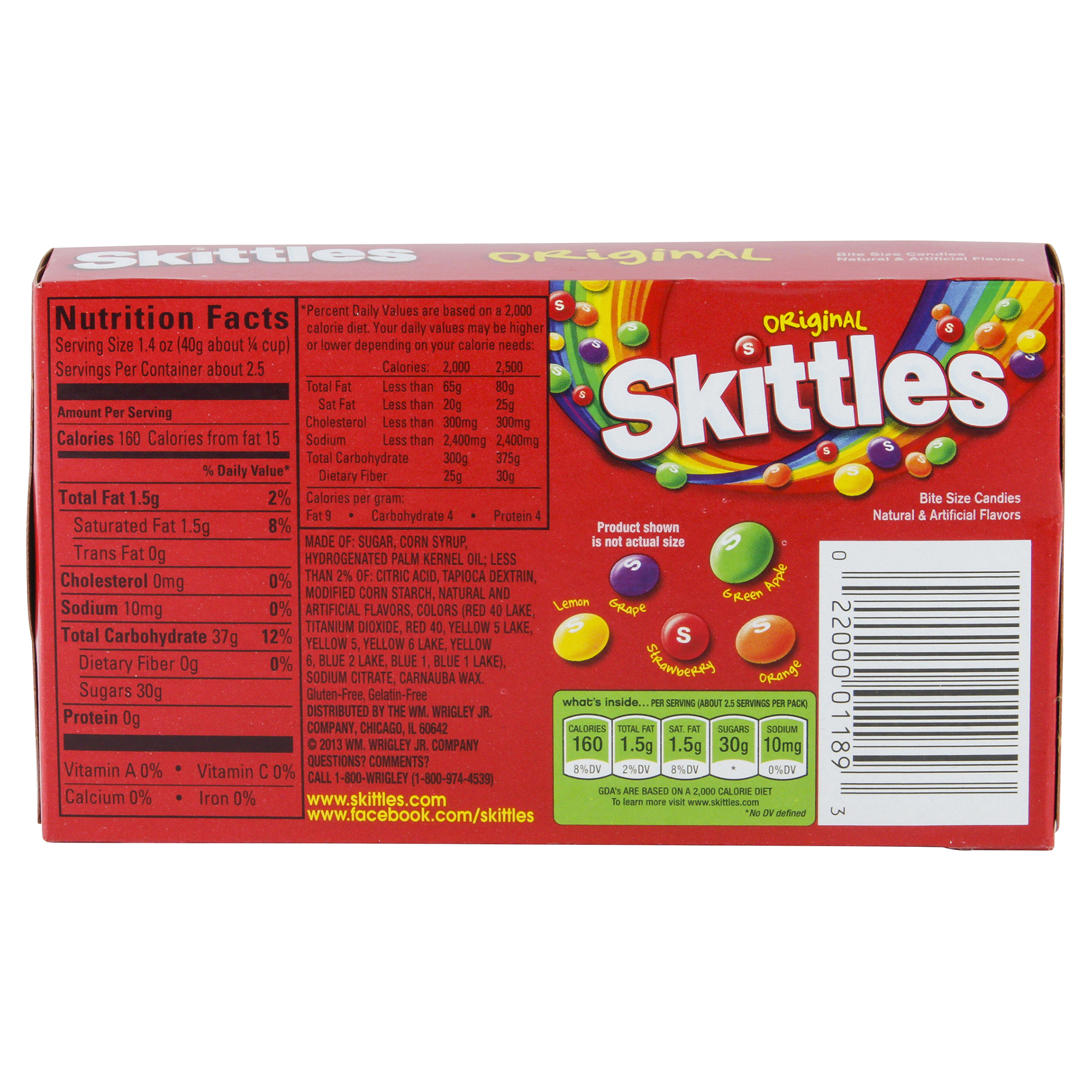 Skittles Fun Size Nutrition Label