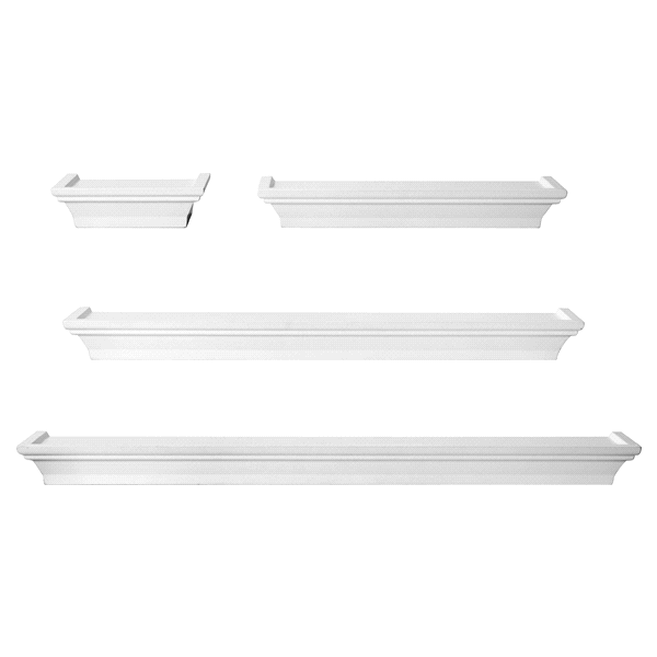 White Wall Shelves Part - 47: Melannco Set Of 4 White Wall Shelves | Meijer.com