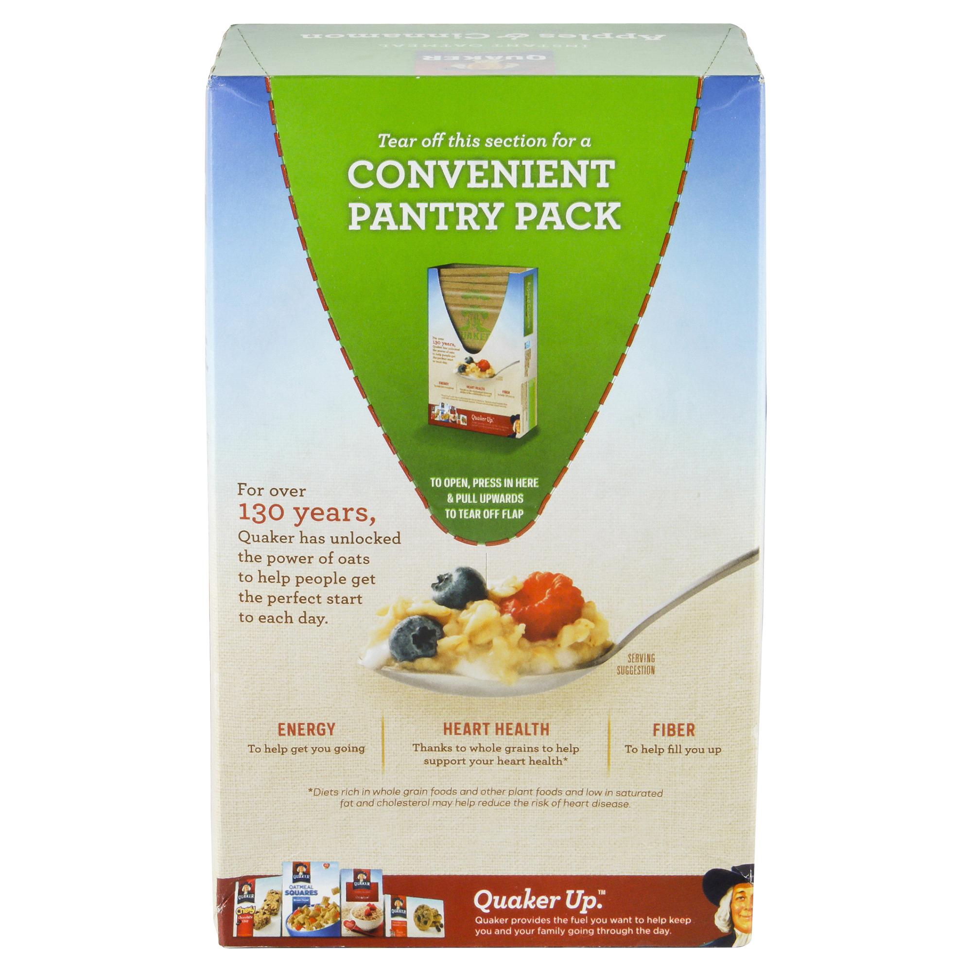 Quaker Instant Oatmeal Apple Cinnamon 10 Count Jar 1 Carton 12 Pcs P