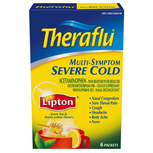 Theraflu Multi Symptom Severe Cold Acetaminophen Packets Green Tea