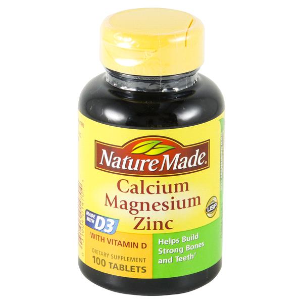 Nature Made Calcium Magnesium Zinc Tablets 100 Ct