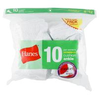 4952c3db26c Hanes Womens Ankle Sock Plus 10 pk White Size 8-12