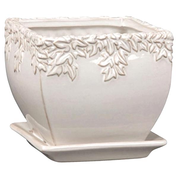 New England Pottery Planter Ivy League Square Moonstone 8 25