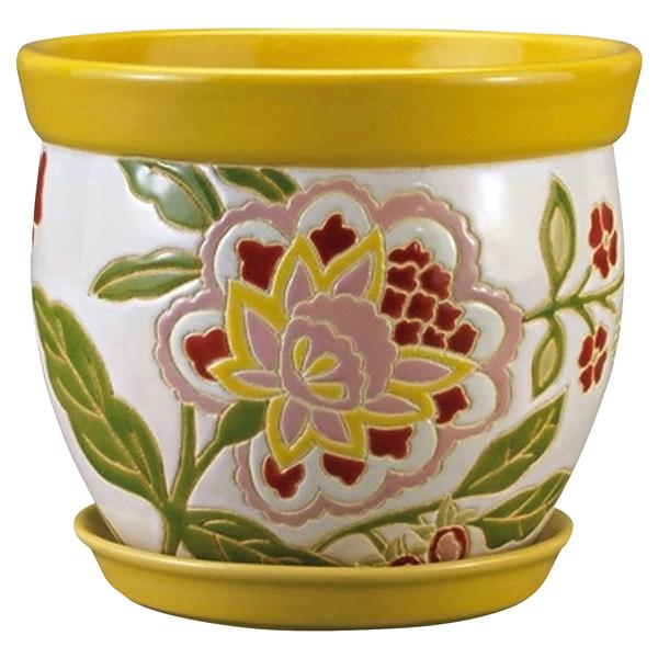 New England Pottery 6 Planter Rainbow Floral Lemon Drop Meijer Com
