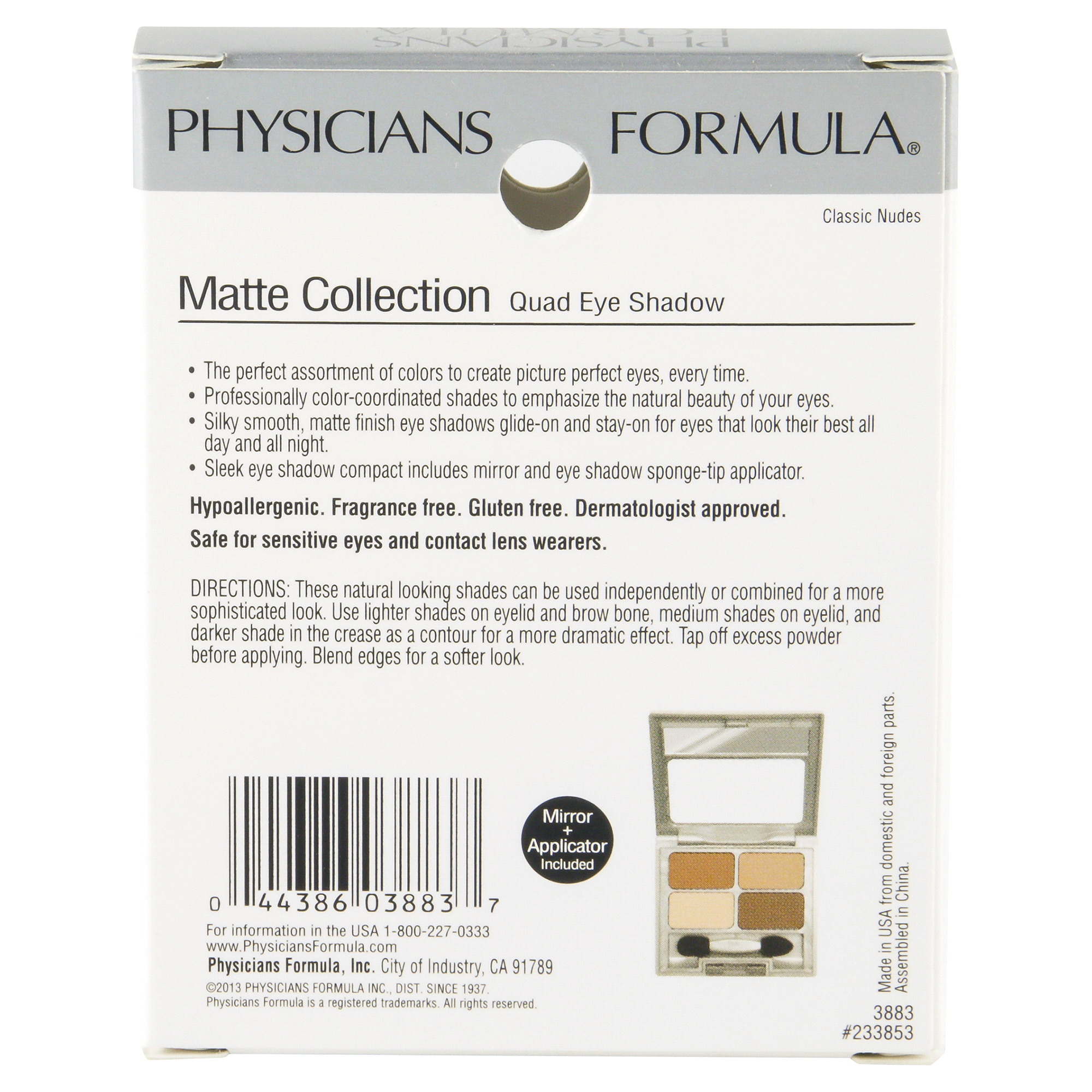 Physicians Formula Matte Collection Quad Eye Shadow Classic Nudes City Color Brow Medium 3883 22 Oz