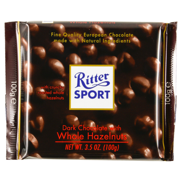 Ritter Sport Dark Chocolate With Whole Hazelnuts 3.5 Oz.