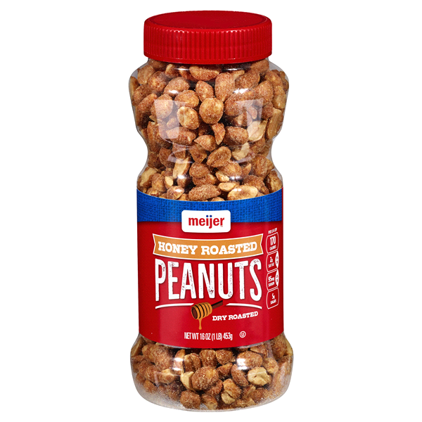 Meijer Honey Roasted Dry Roasted Peanuts 16 oz | Meijer.com on planters chipotle peanuts, planters spanish peanuts, planters cocktail peanuts, planters salted caramel nut bar, planters big nut bar, planters mixed nuts, planters brittle bar, honey bar, planters penuts, planters redskin peanuts, planters chocolate filled peanuts, planters peanuts gifts, planters peanuts holiday pack, planters nuts and chocolate, planters dry roasted peanuts 6 oz, planters candy, planters nuts products, planters nutmobile, planters honey roasted peanuts, planters brittle nut medley,