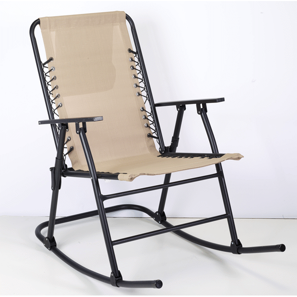 Home Bungee Folding Sling Rocker Chair   Taupe | Meijer.com