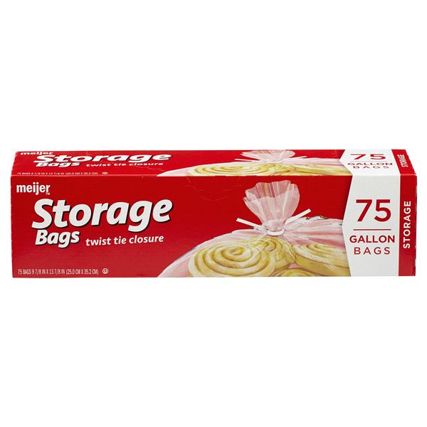 Meijer Twist Tie Food Storage Bags Gallon 75 Ct