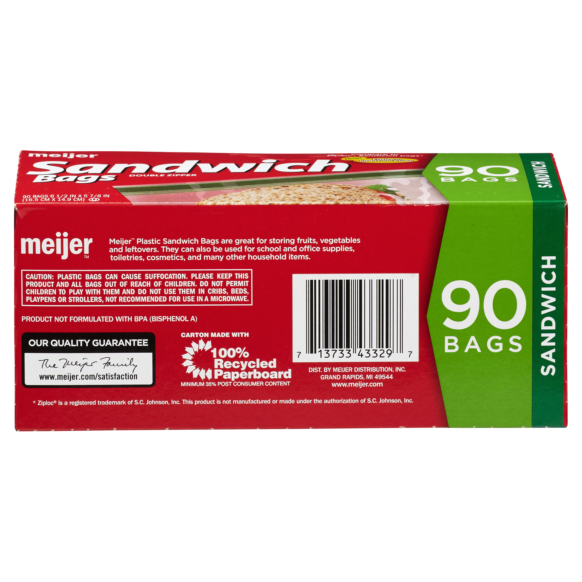 Meijer Reclosable Zipper Sandwich Bags 90 Pk   Meijer.com