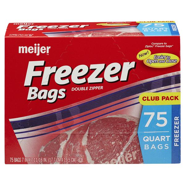 meijer reclosable double zipper quart freezer bags 75 pk