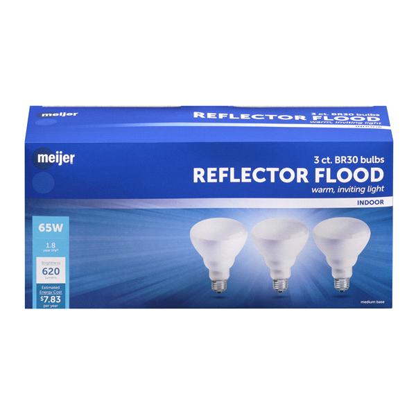 Meijer 65W BR30 Reflector Flood Bulbs Medium Base 3 Pk