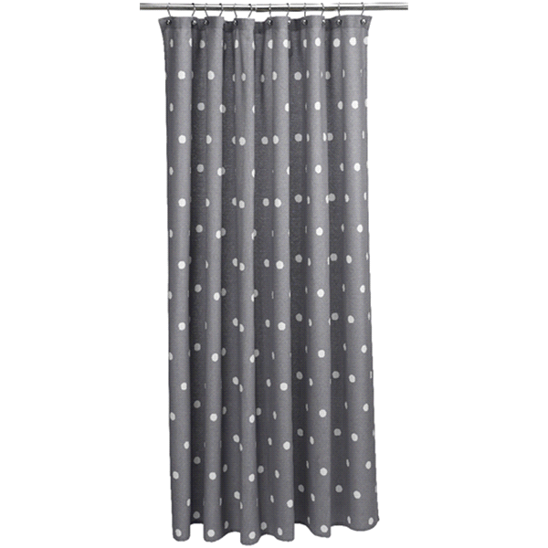 Room Retreat Gray Polka Dot Shower Curtain