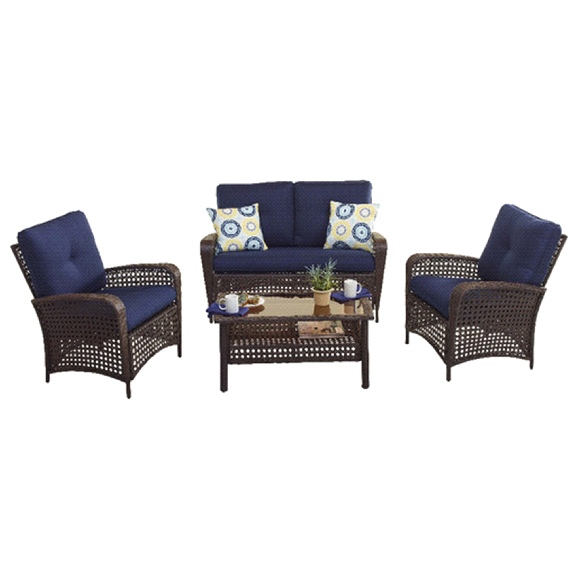 Gibson Lake Collection 4 Piece Wicker ConversationSet