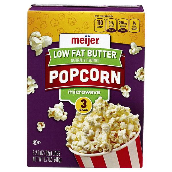 Meijer Microwave Popcorn Er 94 Fat Free 3 Count