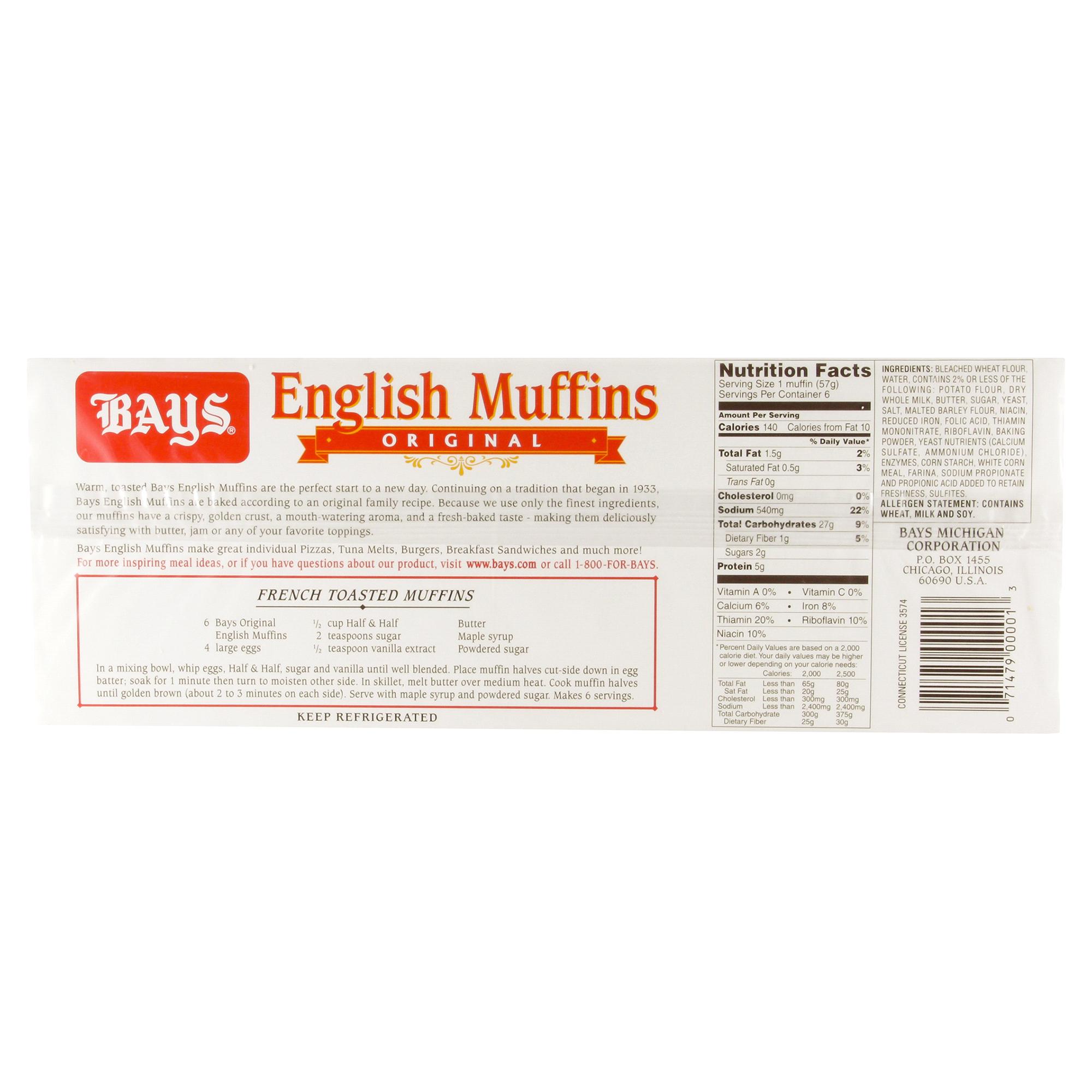 bays original english muffins 6 count | meijer