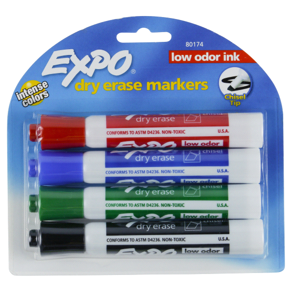 expo low odor chisel tip colored dry erase markers 4 pk 80174