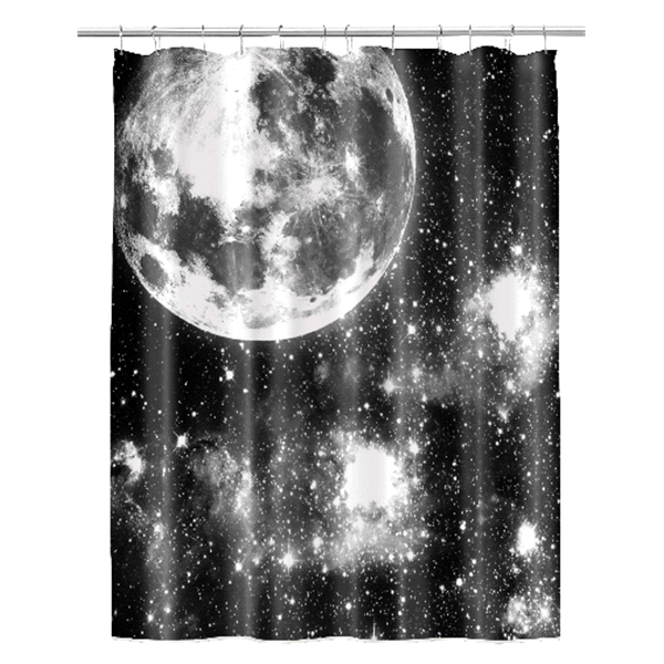 Moon Black PEVA Shower Curtain