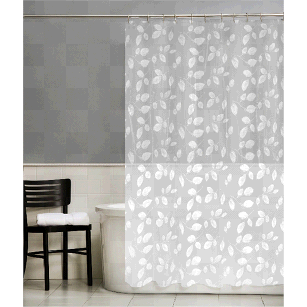 Room And Retreat Just Leaves PEVA Shower Curtain White