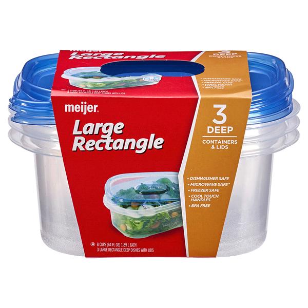 Meijer Storage Containers Deep Dish 3 pack 64oz Meijercom