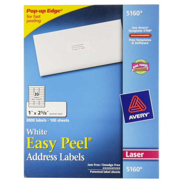 Avery Easy Peel White Address Labels For Laser Printers 5160 1 X 2
