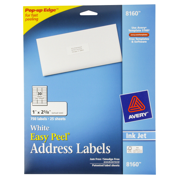 Avery Easy L White Address Labels For Inkjet Printers 8160 1 X 2
