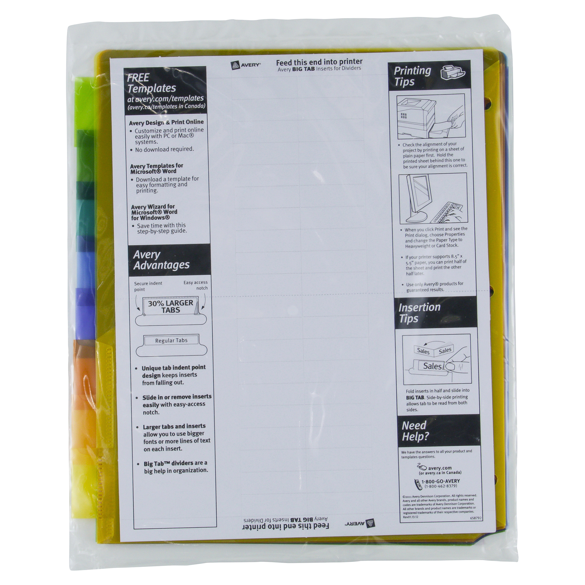 avery big tab plastic pocket insertable tab dividers meijercom