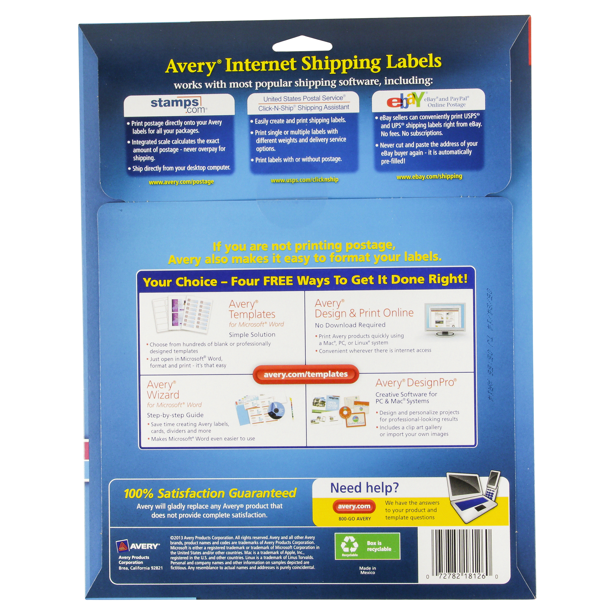 Avery White Shipping Labels With Trueblock Technology 18126 5 1 regarding Clipart For Avery Design Pro