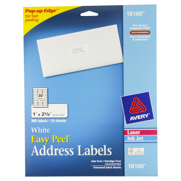 Avery Easy Peel White Address Labels 1 X 2 58 Meijer