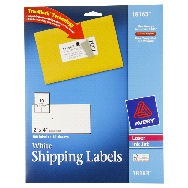 Avery White Mailing Labels 2x4 100ct Meijer