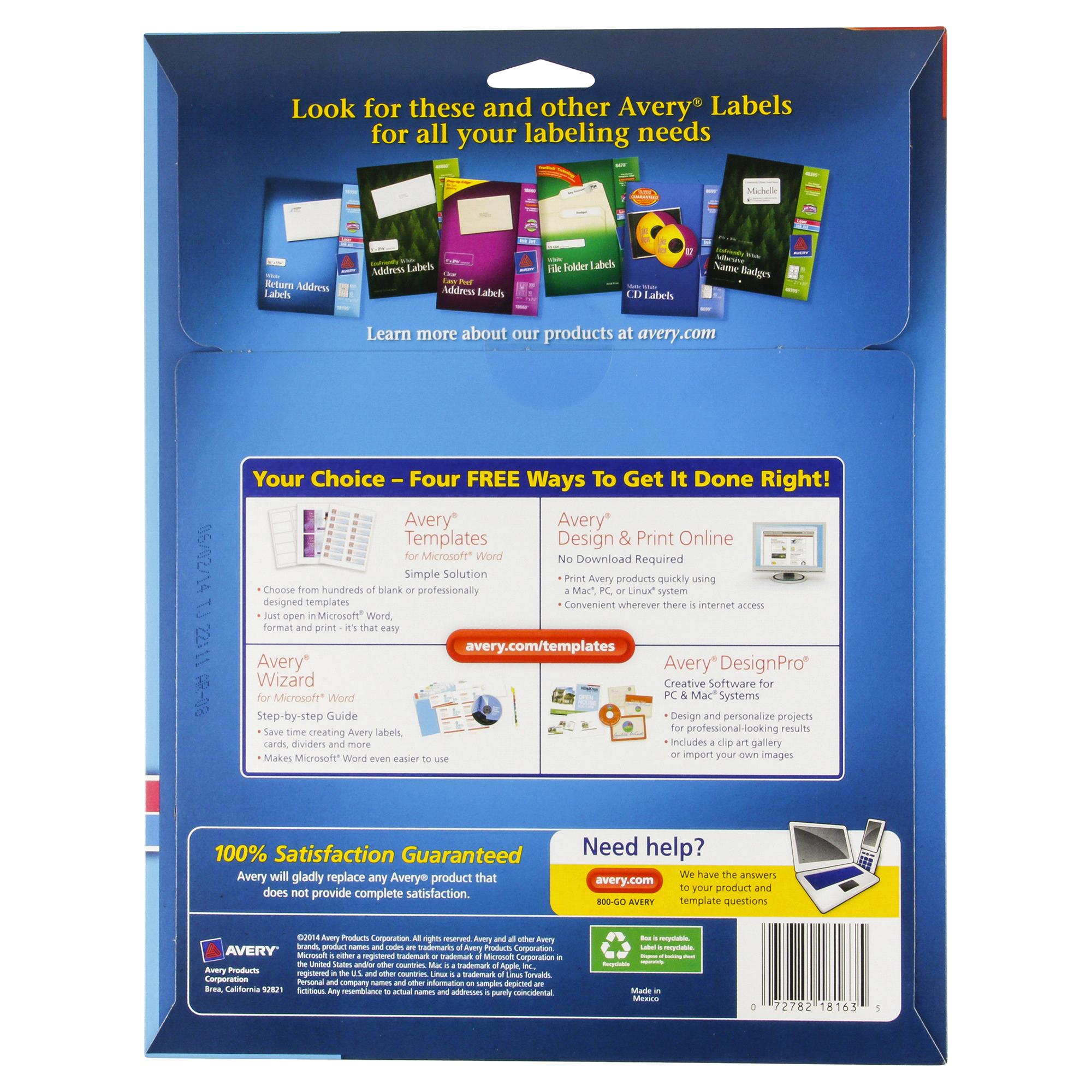 avery white mailing labels 2x4 100ct meijercom