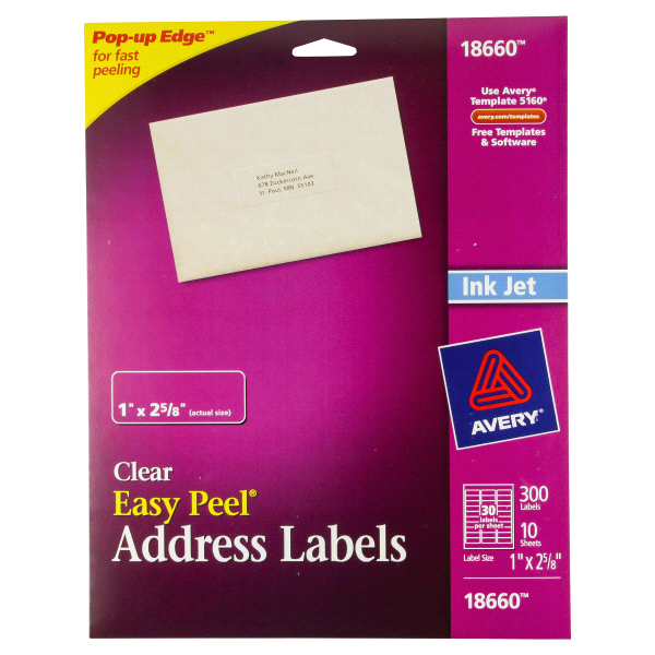 Avery easy peel clear address labels for inkjet printers 18660 1 avery easy peel clear address labels for inkjet printers 18660 1 x 2 58 pack of 300 meijer saigontimesfo