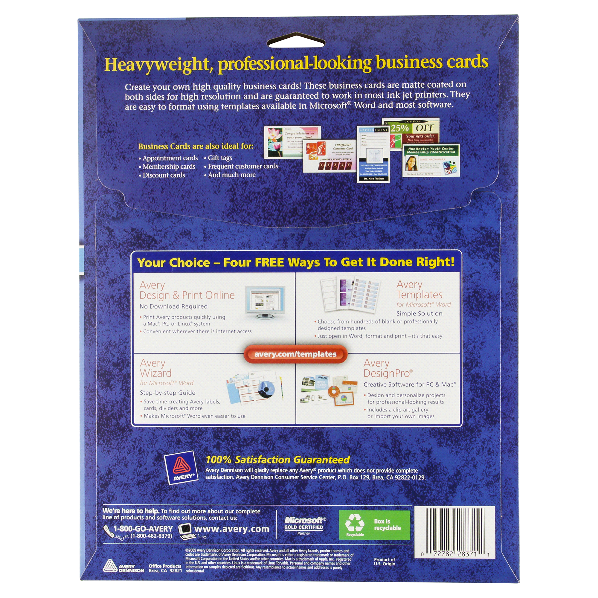 Avery business cards for inkjet printers 28371 matte white pack of avery business cards for inkjet printers 28371 matte white pack of 100 meijer reheart Image collections