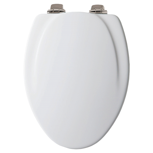Elongated Molded Wood Toilet Seat with Whisper•Close® Brushed-Nickel ...