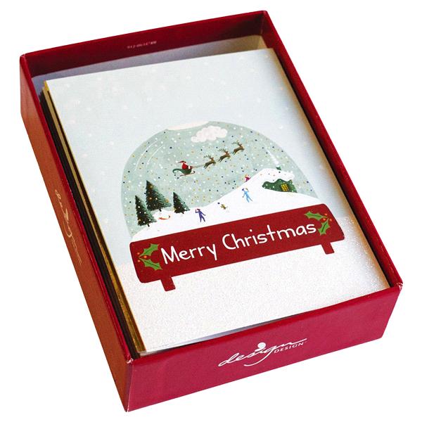 Design Design Merry Christmas Snow Globe Boxed Christmas Cards 20 ct ...