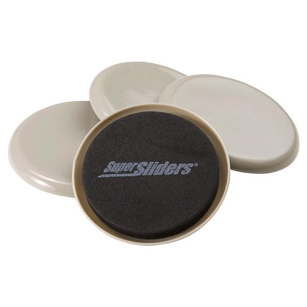 Super Sliders Round Beige 3 1/2 4 Pieces