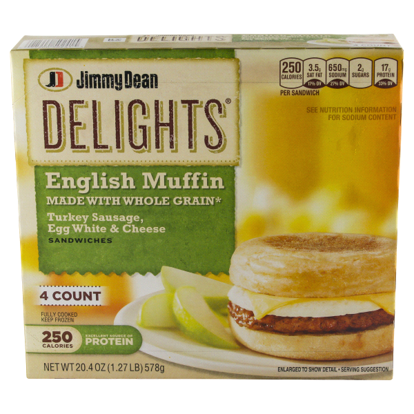 Jimmy Dean Delights 4 Ct Turkey Sausage Egg Whites Cheese Muffin