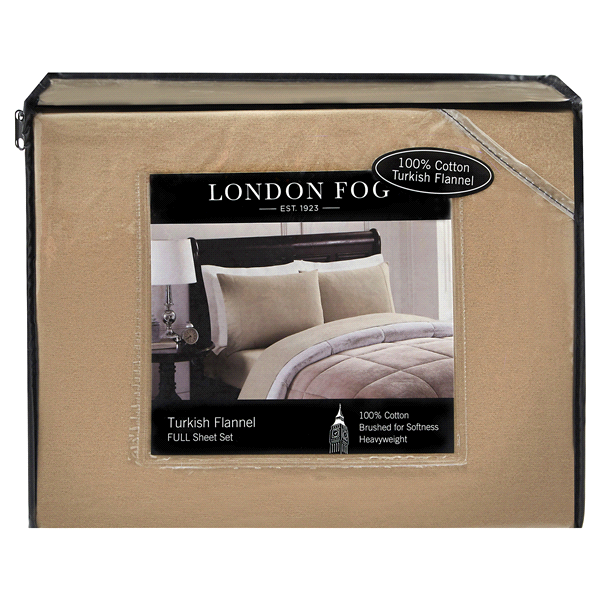 London Fog Full Sheet Set Solid Tan Meijer Com