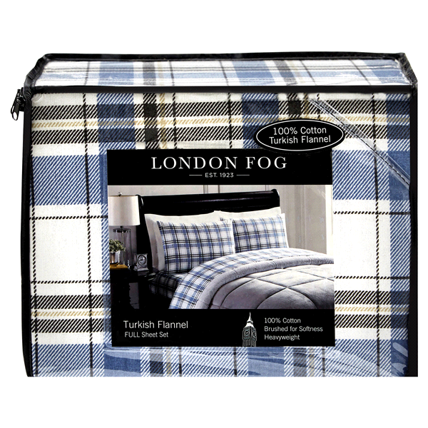 London Fog Flannel Full Sheet Set Blue Plaid Meijer Com