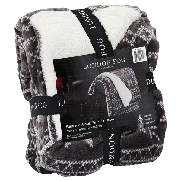 London Fog Supreme Velvet Fair Isle Gray Throw | Meijer.com