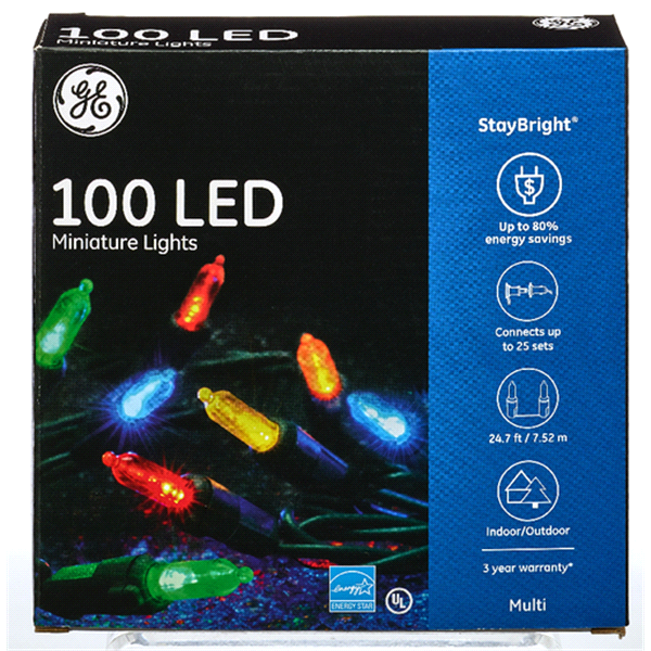 ge staybright led miniature light set multi 100 ct meijercom