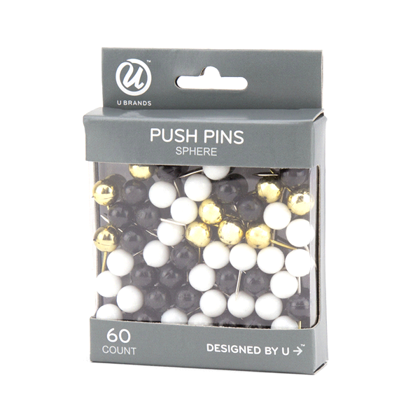 u brands sphere push pins black white and gold assorted colors 60