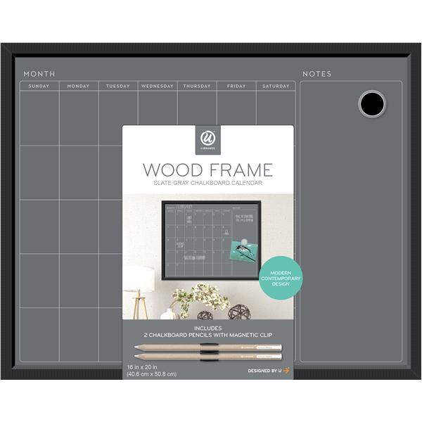 U Brands Magnetic Chalkboard Calendar 16 X 20 Inches Black Mdf Frame