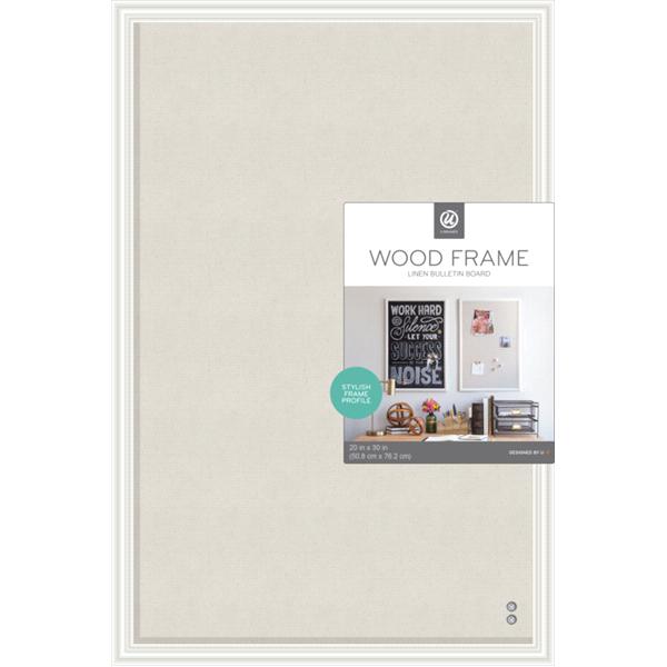 U Brands Cork Linen Bulletin Board 20 x 30 Inches White Wood Frame ...