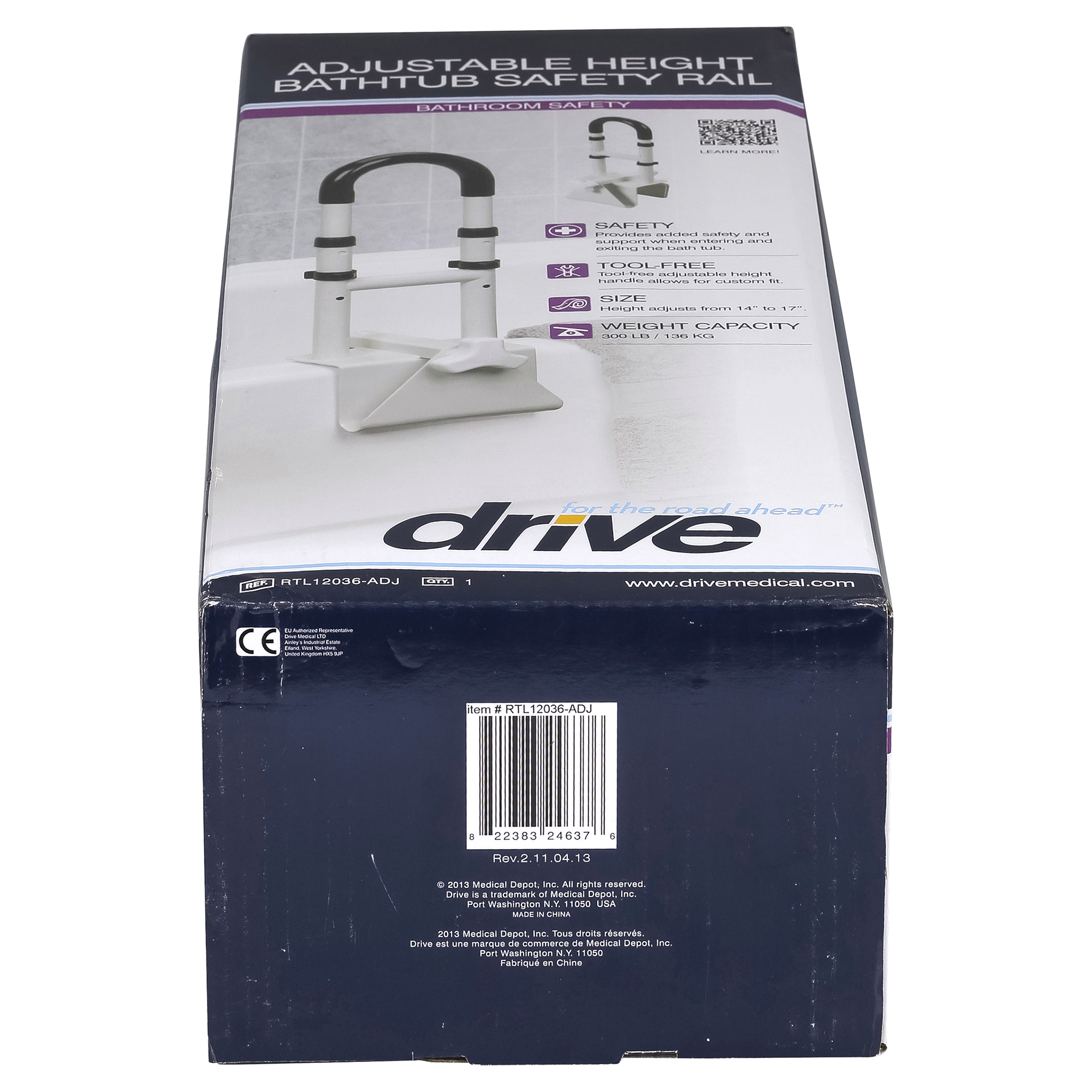 Drive Medical Bathtub Safety Rail Clamp-On Adjustable Height White ...