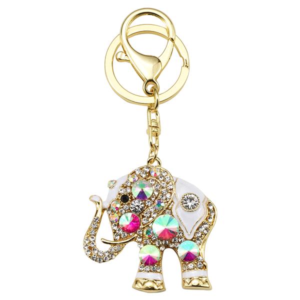 Gold White Decorative Elephant Key Chain  8b22c00cb75f