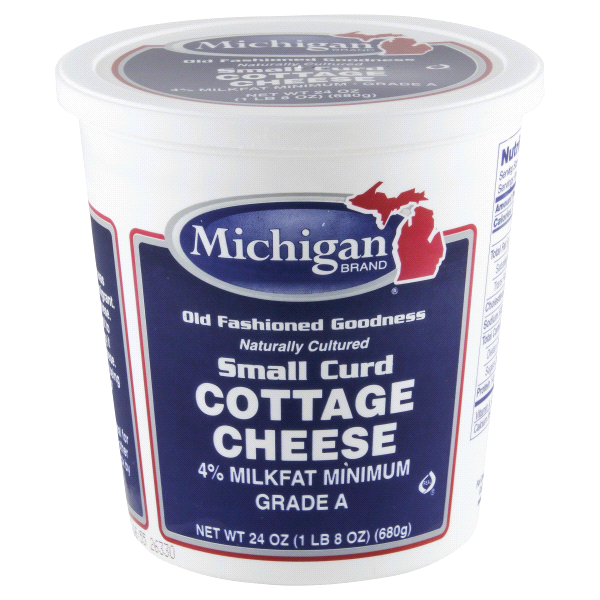 Michigan Brand 4% Milkfat Small Curd Cottage Cheese   24 Oz